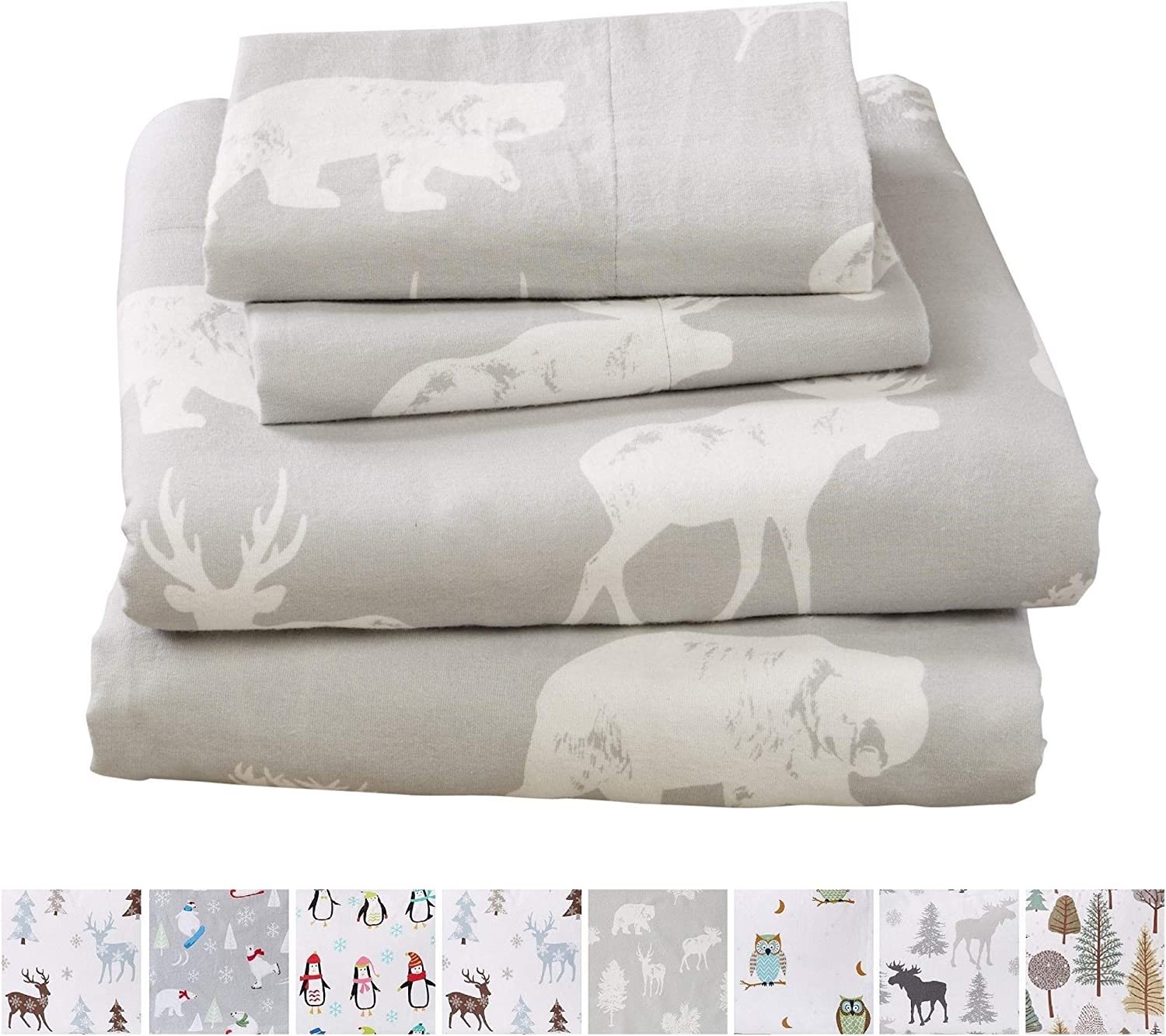 Home Fashion Designs Stratton Collection Extra Soft Printed 100% Turkish Cotton Flannel Sheet Set. Warm, Cozy, Lightweight, Luxury Winter Bed Sheets Brand. (California King, Forest Animals)