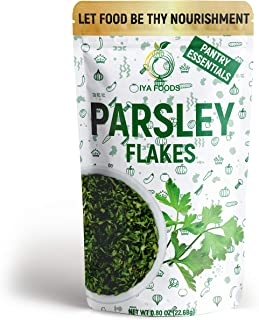 Iya Foods Parsley Flakes 0.80 oz Pack, Used for a pop of color and a subtle touch of herbal flavor in dishes like pizza, p...