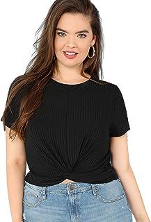Romwe Women's Front Twist Short Sleeve Plus Size Crop T-Shirt Tops Blouse