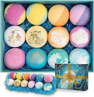 Bath Bombs 12 PCS Gift Set, Ribivaul Handmade Natural & Organic Bath Bomb with Rich Bubbles and Colors, Idea Birthday Chri...
