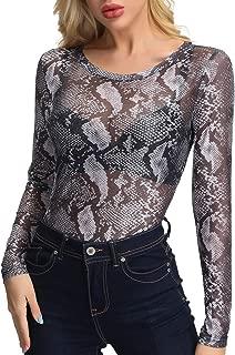 Women Long Sleeeve Mesh Lace Shirt Sheer See Through Top Blouse