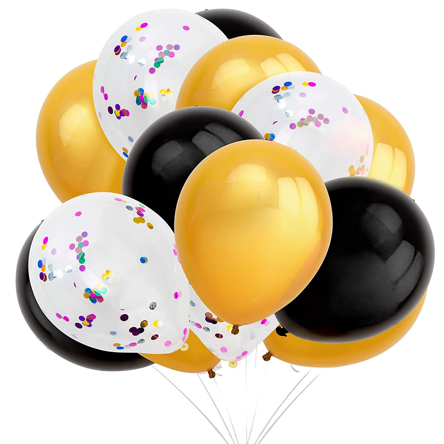 Confetti Balloon Set – 125-Pack Balloons in Black, Gold, Clear/White with Confetti – Includes String and Blowing Straws - Latex Balloons for Birthdays and Graduations, 12-Inch Diameter Balloons