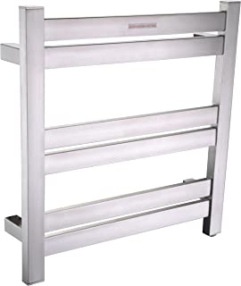 ANZZI Starling 20.47 in x 20.87 in Modern 6-Bar Wall Mounted Electric Towel Warmer in Brushed Nickel | Stainless Steel 93W Heater Tower Drying Rack for Bathrooms and Spa | TW-AZ025BN
