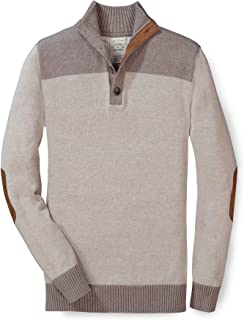 Men's Long Sleeve Pieced Mock Neck Sweater with Elbow Patches