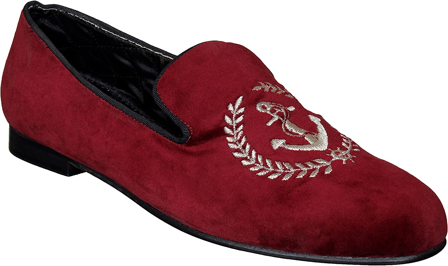 Lozano Maroon Velvet Slip ons with Anchor Embroidery Casual shoes Maroon