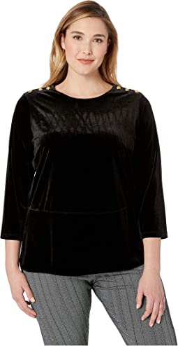 Plus Size Georgette-Velvet Tunic Top