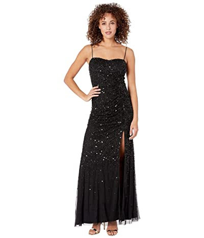 Adrianna Papell Beaded Tank Shirred Evening Gown (Black) Women
