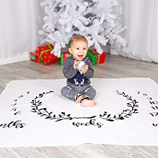 Newborn Baby Milestone/Calendar Blanket: Great for Infant & Toddler Photo-Shoots to Track Incredible Growth, Backdrops, Baby Shower Party Gifts, or Can be Used as Throw/Swaddling Blankets