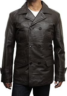 Brandslock Leather Trench Coat Mens Brown Genuine Cowhide Three-Button Military U Boat Captains Jacket