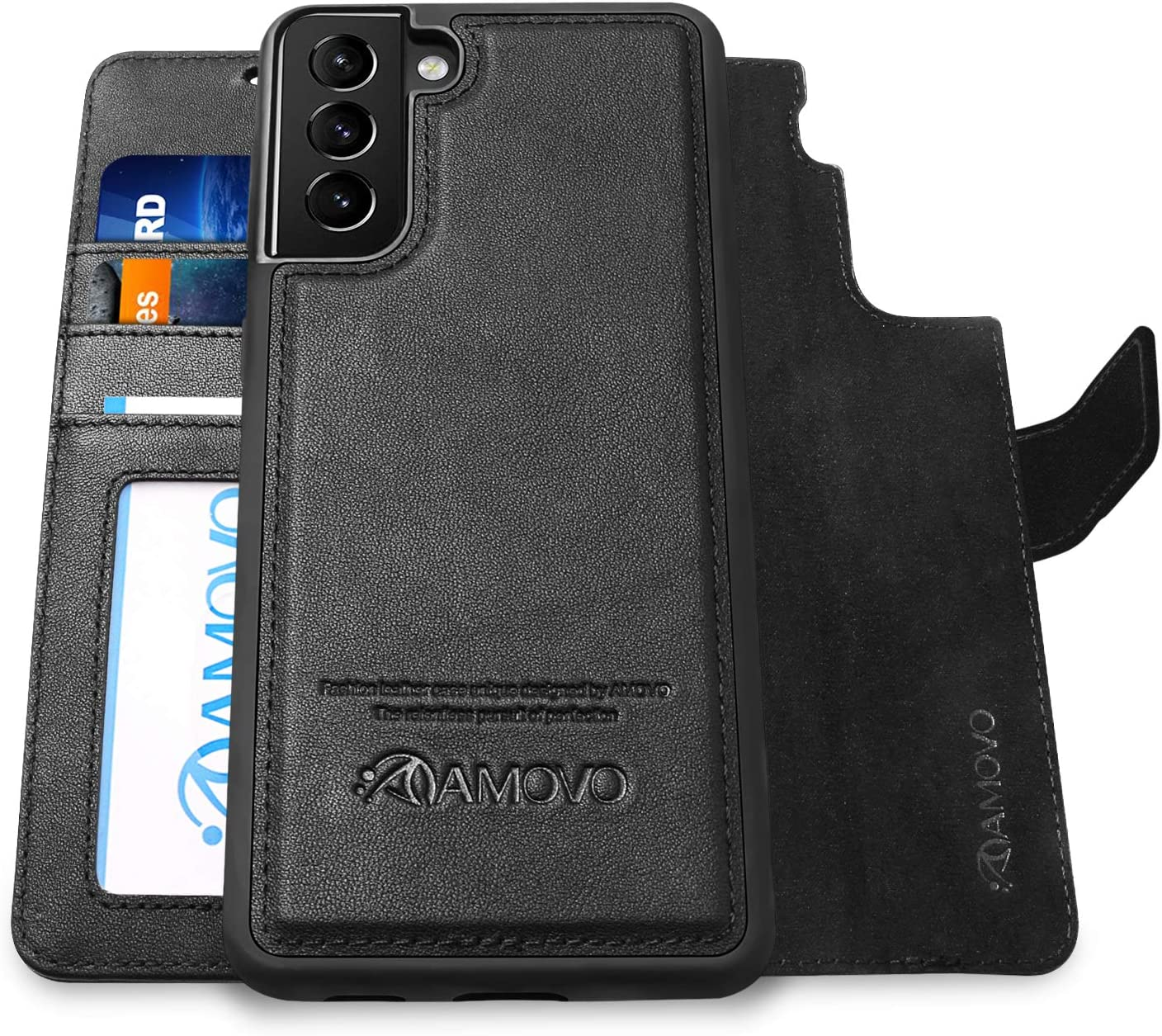 AMOVO Genuine Leather Case for Samsung Galaxy S21 Plus Wallet Case Detachable [Wireless Charging][Card Slot][Stand Feature] Magnetic Flip Folio Case for Galaxy S21+ (6.7'') (Genuine Leather, Black)