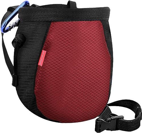 Rhino Valley Chalk Bag,No Leak Rock Climbing Strawstring Bag Drawstring Magnesia Sack with Adjustable Belt Carabiner ...