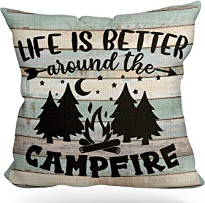 LUOFISH Camping Signs,Retro Camping Rules Linen Throw Pillow Case Cushion Cover,Life is Better Around The Campfire,Outdoor Decorative Home Decor Camper Decoration,18x18 inch(45x45cm)