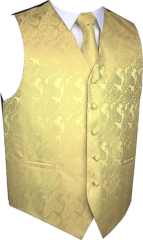 Men's 3pc Paisley Design Dress Vest Tie Handkerchief Set For Suit or Tuxedo (5XL (Chest 60)