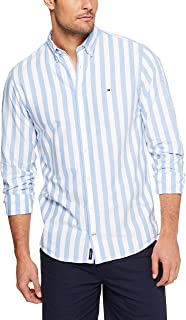 Tommy Hilifiger Men's Striped Shirt, Blue/Bright White