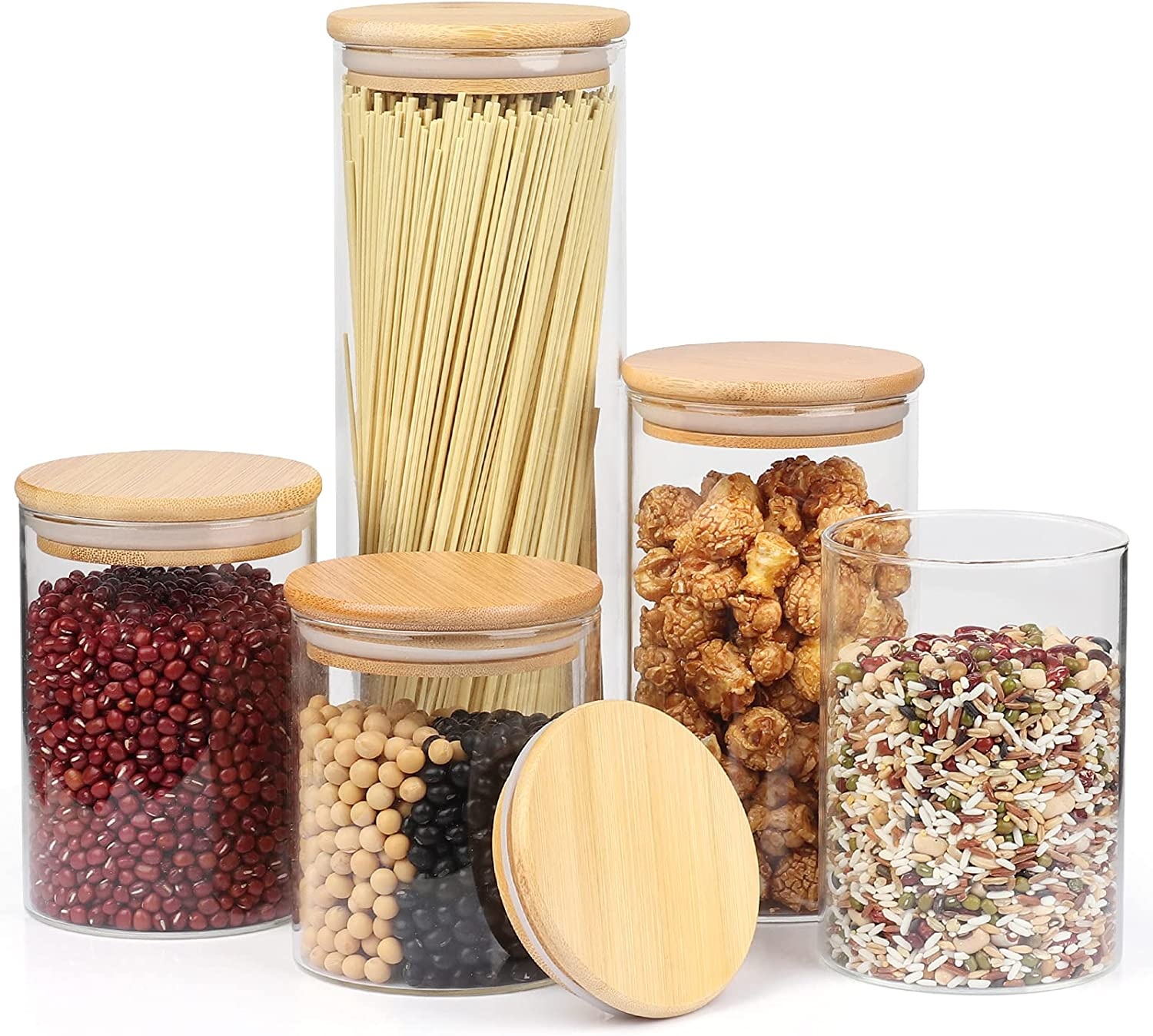 Glass Storage Jars Set of 5, Color4day Stackable Glass Food Storage Containers Set with Airtight Bamboo Lid for Tea, Sugar, Pepper, Spices, Pasta, Coffee Beans, Flour, Herbs, Grains -- Labels and Pen Included