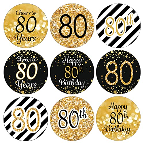 DISTINCTIVS Black And Gold 80th Birthday Party Favor Labels