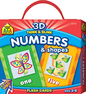 School Zone - 3D Think & Blink Numbers & Shapes Flash Cards, Preschool and Kindergarten, Ages 3 through 6, Magic Flashing Flash Cards