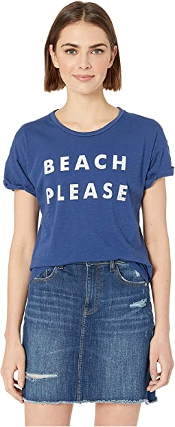 Beach Please Rolled Short Sleeve Slub Tee