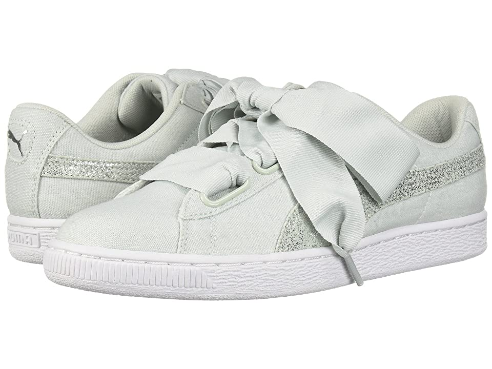 c5f93c9829e234 PUMA Basket Heart Canvas (Blue Flower Puma White Puma Silver) Women s Lace  up casual Shoes