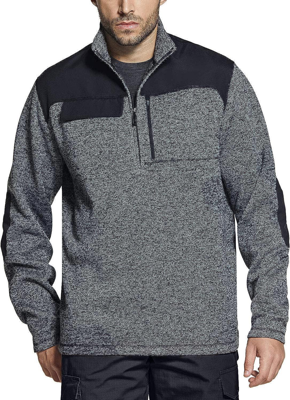 CQR Men's Thermal Fleece Half Zip Pullover, Winter Outdoor Warm Sweater, Lightweight Long Sleeve Sweatshirt : Sports & Outdoors