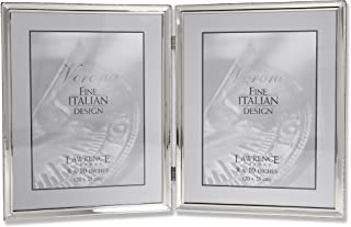 Lawrence Frames Polished Silver Plate 8x10 Hinged Double Picture Frame - Bead Border Design