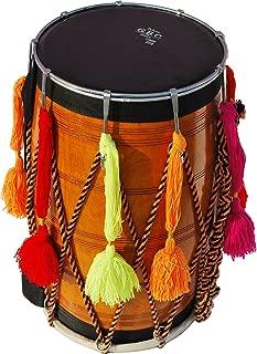 Punjabi Bhangra Dhol Drum, Mango Wood, Natural Finish, Padded Gig Bag, Belt/Strap, Sticks to Play (Danka & Chanti), Tuning Key, Light Weight, Nice Sound,