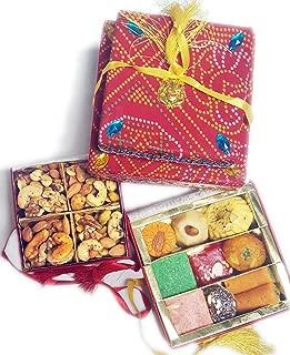 Sukhadia's Indian Sweets & Nuts Gift Pack- Fancy Bandhani Boxes- 12oz Sweets & 8oz Mixed Masala Nuts