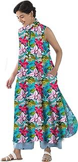 RADANYA Women's Floral Pattern Sleeveless Long Tops Tunic Kurta with Round Bottom