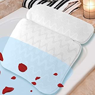 Bath Pillow for Tub, Spa Bathtub Pillow for Neck Head and Back Support, Fits Any Tub, Straight Back Tub, Soaking Tub,Jacuzzi Hot Tub, 3D Air Mesh Technology, Machine Washable, 6 Non-Slip Suction Cups