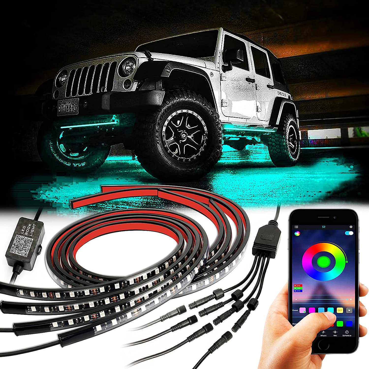 Car Underglow High order RGB LED Lights 4 Pcs Neon trust Exterior Underbody Acce