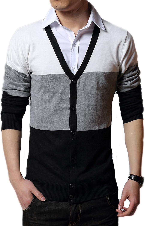 New Korean Men cardigan Hit color V-neck sweater Knitwear
