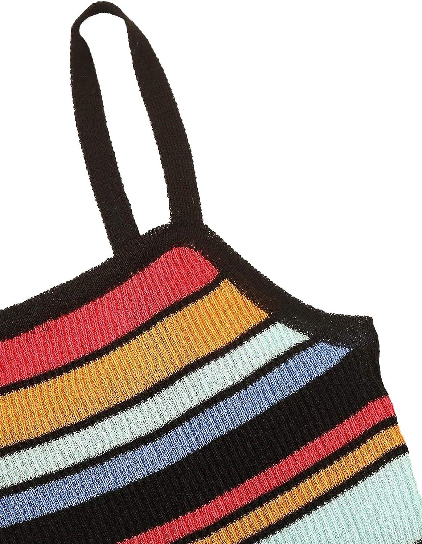 SweatyRocks Women's Sexy Strappy Crop Top Striped Print Ribbed Knit Cami Top