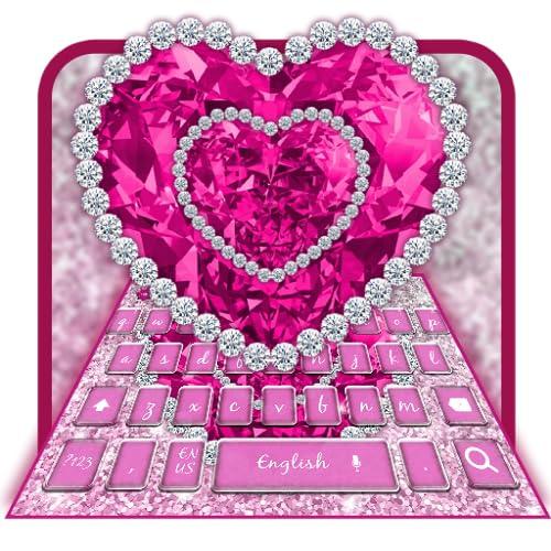 Glitter Pink Diamond Heart Keyboard Theme
