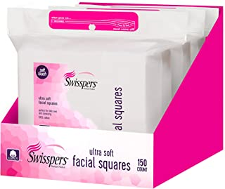 Swisspers Premium Facial Square Pads, 100% Pure Cotton, 150-Count Pads per Pack, 3 Packs (450 Pads Total)