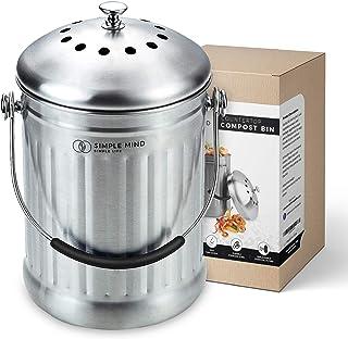 cubo de basura de cocina cubo de compost de cocina con tapa 1 gal/ón incluye filtro de carb/ón Ayacatz Cubo de compost de acero inoxidable para cocina