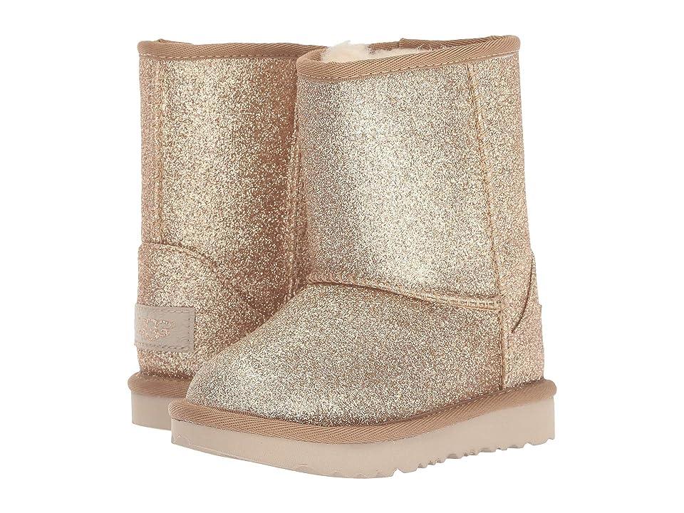 UGG Kids Classic Short II Glitter (Toddler/Little Kid) (Gold) Girls Shoes