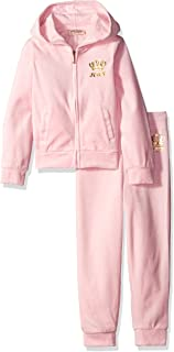 Juicy Couture橘滋 学步女婴2件丝绒连帽外套&裤子套装 ,浅粉色,2T