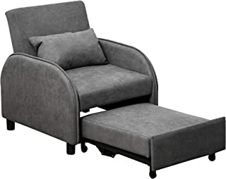 HOMCOM Fauteuil chauffeuse canapé-lit Convertible 1 Place Dossier inclinable 3 Positions Coussin Inclus Polyester Coton Gris