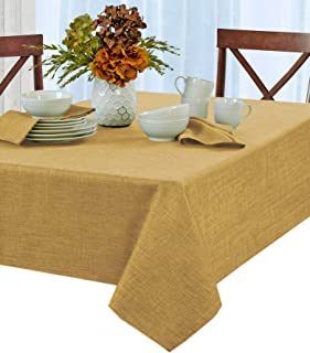 Penington Solid Woven No-Iron Soil Resistant Fabric Tablecloth - 60 X 120 Oblong - Gold