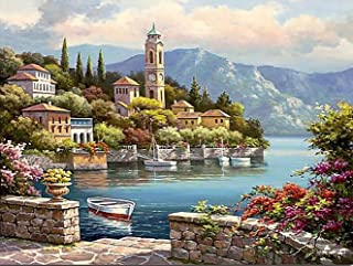 Paint by Numbers-DIY Digital Canvas Oil Painting Adults Kids Paint by Number Kits Home Decorations- Flower Castle 16 * 20 ...