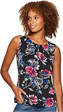 Floral Printed Matte Jersey Top with Keyhole Neckline