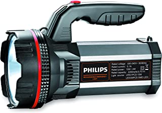 Philips Blaze Multi-Functional Long Range LED Torch with Rechargeable Emergency Light, Black, Standard
