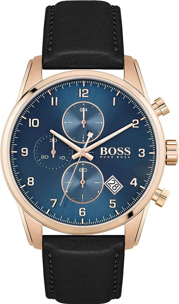 Hugo boss, orologio,cronografo per uomo,cassa in acciaio e cinturino in vera pelle 1513783