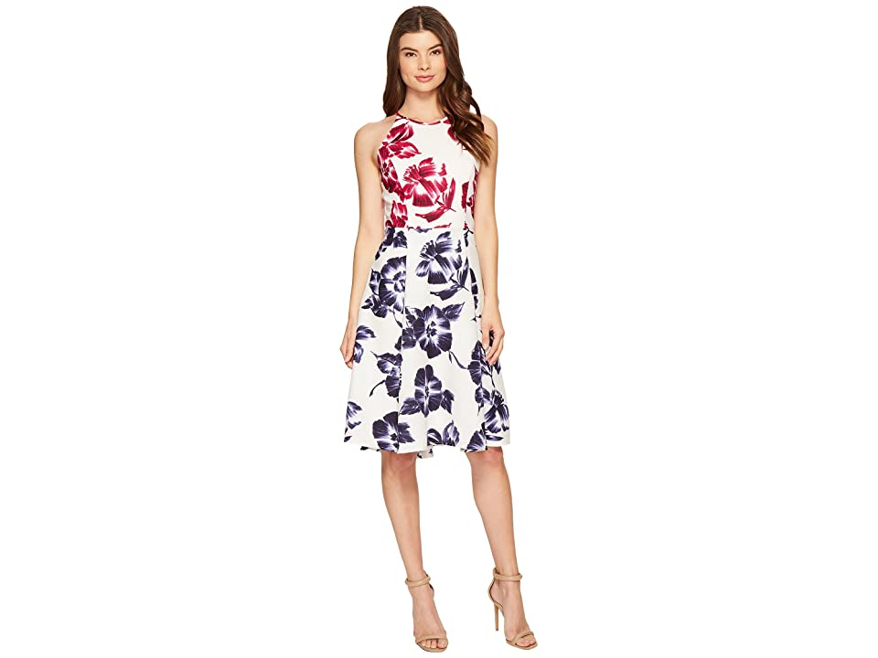 80e7ee4fc2 Maggy London Drapey Linen Sketch Blossom Hi-Lo Fit Flare Dress (White Flambe)  Women s Dress