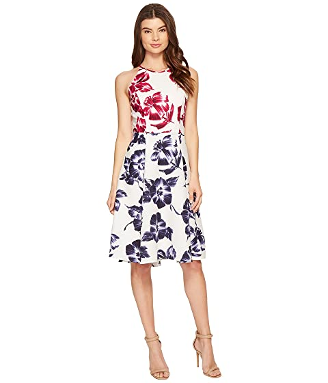 Maggy London Drapey Linen Sketch Blossom Hi Lo Fit Flare Dress At 6pm