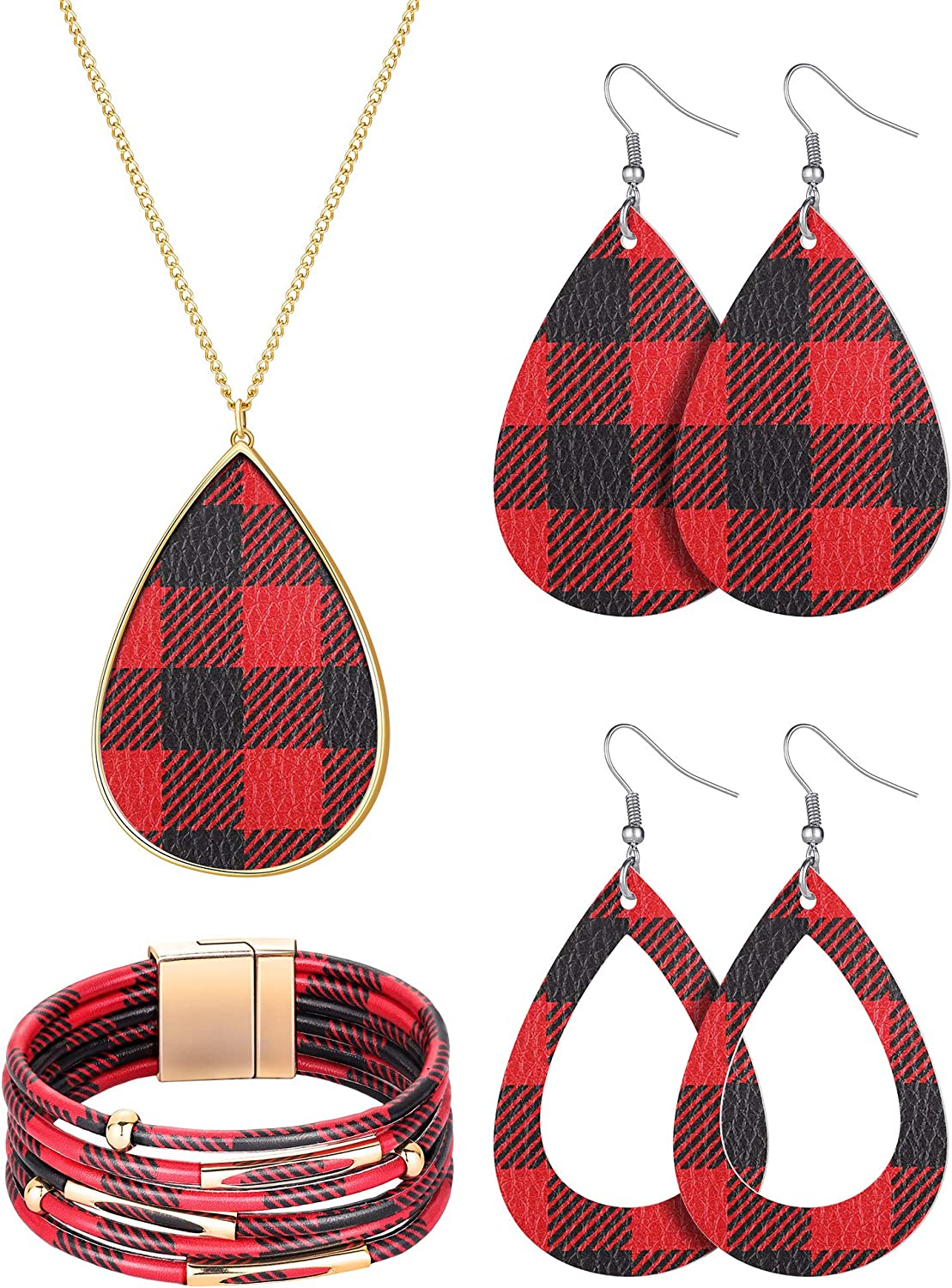 4 Pieces Christmas Plaid Print Jewelry Set Multi-Layer Bracelet Xmas Check Teardrop Earrings Necklaces Faux Leather Plaid Dangle Earring Necklace Lightweight Gifts for Women Girls