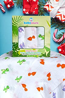 Baby Swaddle Blanket - Premium 100% Organic Cotton Muslin, Soft & Breathable Swaddle Wrap for Infant to Toddler dinosaurs blankets, boy/girl unisex, neutral color. Receiving Newborn & Baby Shower Gift