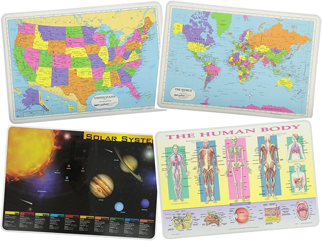 Painless Learning Educational Placemats For Kids USA And World Maps Solar System The Human Body Laminated Washable Reversible Activities Set Of 4