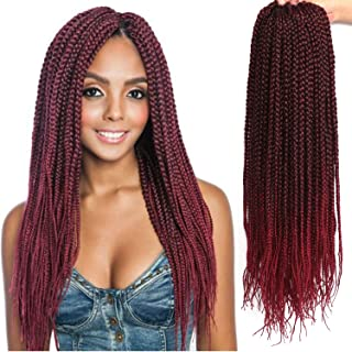 22 Inch Long Medium Box Braids Crochet Hair 7 Pakcs/lot Synthetic Hair Extension Box Braid Hair Crochet (22 Inch, 1B/Burgundy)
