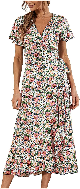 Casual Summer Dress Max 61% OFF for Year-end annual account Women V-Neck Beach Print Short Bohemian